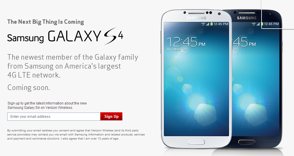 Verizon launches Samsung Galaxy S4 sign-up page | Droid Matters