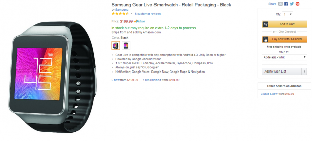 Amazon.com  Samsung Gear Live Smartwatch   Retail Packaging   Black  Cell Phones   Accessories